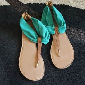 Turquoise and tan sandals